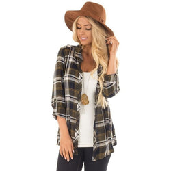 Casual long sleeve plaid blouse