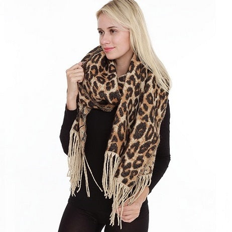 Leopard scarf with tassels