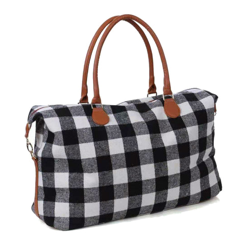 Chequered large travel bag