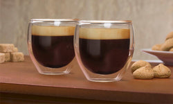 Double wall glass coffee cups