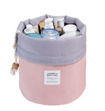 Drawstring makeup organizer barrel bag