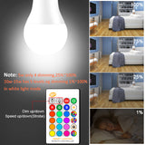 Multi colour remote controlled LED light bulb