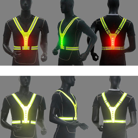 New Hi Viz Reflective Cycling Running Vest with LED Lights Mens//Womens Safety