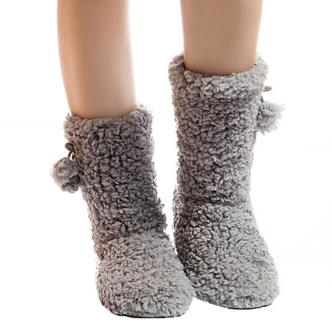 Warm plush fur slipper socks