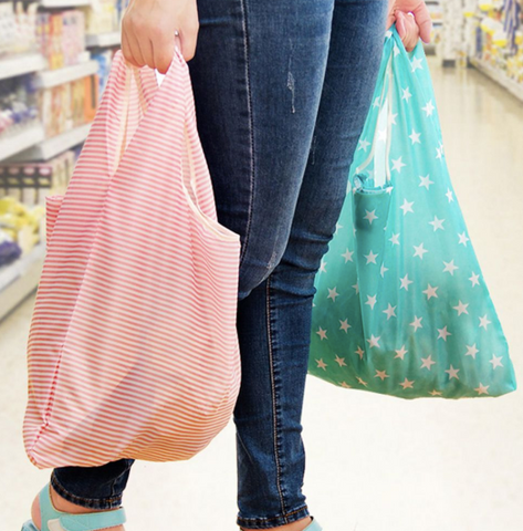 2 x eco friendly re-usable grocery shopping bags