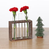 Wooden frame glass tube vase