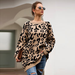 Long animal print sweater for women