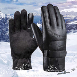 PU leather warm gloves for men