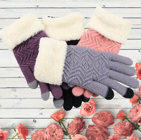 Knitted touch screen warm gloves