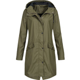Water resistant hooded raincoat for women