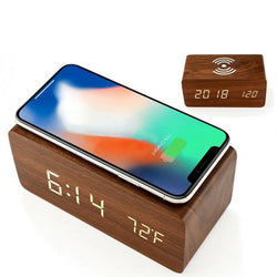 Digital LED alarm clock with wireless charging