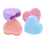 Heart shaped make up brush cleaning glove