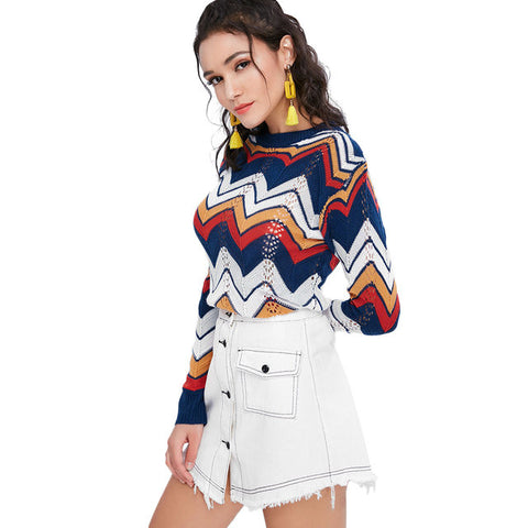 Rainbow pullover for women