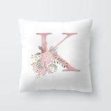 Floral letter printed pillow cover set of 2pcs