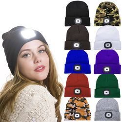 Knitted LED headlamp beanie