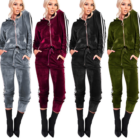 Velvety tracksuit for women