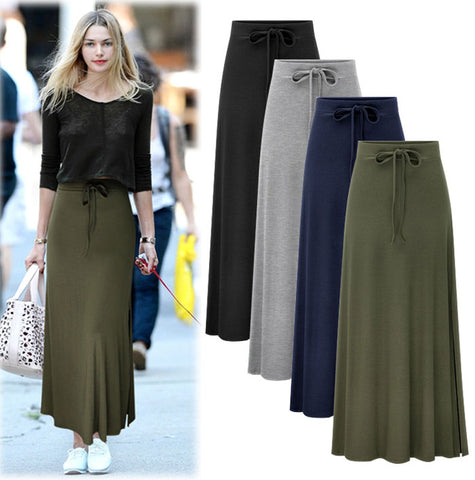 Plus size knitted maxi skirt
