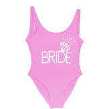 Bachelorette party team bride swimsuit