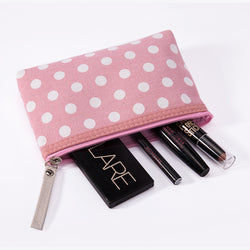 Polka dot zippered make up bag