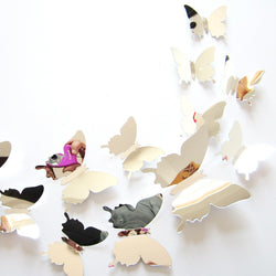 12 piece 3D mirror butterfly decoration set