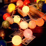 Cotton ball fairy lights string