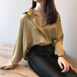 Elegant v-neck long sleeve blouse