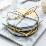 Marble & golden pattern coaster set