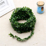 Artificial green leaves decor rope set of 2