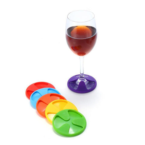 6 pack of silicone wine glass coasters