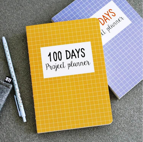 100 days project planner diary notebook