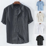 Short sleeve casual cotton shirt for men