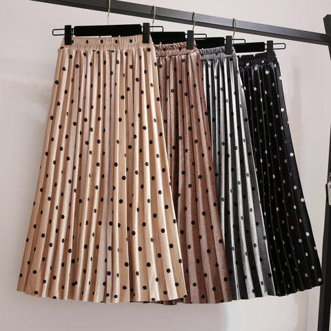 High waist polka dot pleated skirt
