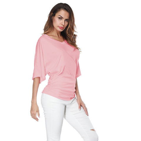 Women's loose V-neck top