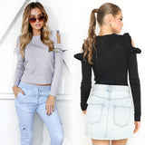 Knitted ruffle sweater