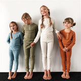 Solid color pajama set for kids