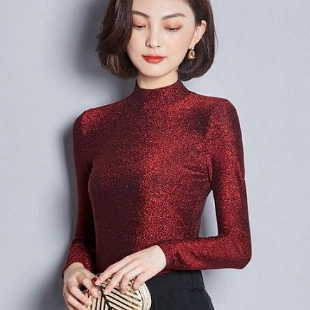 Shiny turtleneck blouse for women
