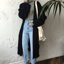 Long loose fit knitted cardigan