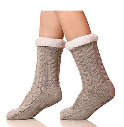 Knitted soft plush slipper socks