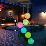 Solar powered color changing LED wind chimes