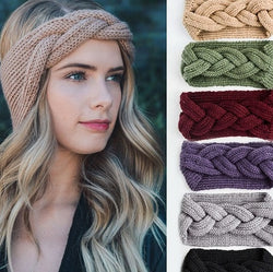 Warm knitted elastic hair band