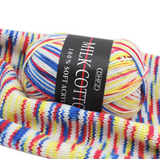 Colourful cotton knitting yarn 2 rolls