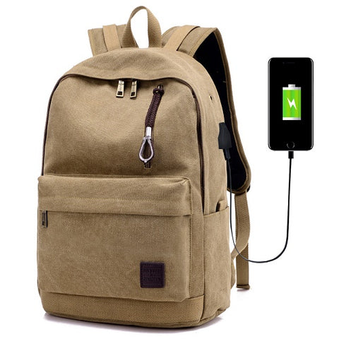 Canvas backpack with USB charger
