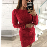 Plush furry sweater dress