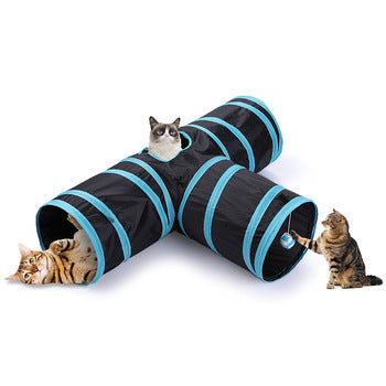 Folding cat tunnel with ball