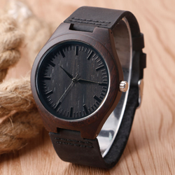 Wooden bamboo leather band wrist watch