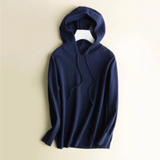 Hooded knitted pullover for women