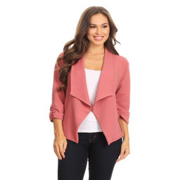 3/4 sleeve open blazer for women