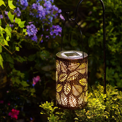 Solar powered garden hanging lamp