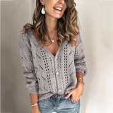 V-neck hollow knitted cardigan for women