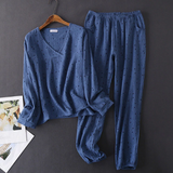 V-neck cotton pajama set